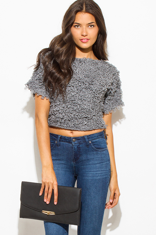 Cute cheap gray textured boat neck wide short sleeve sweater knit crop blouse top