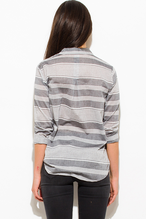 Cute cheap gray white striped cotton button up blouse top