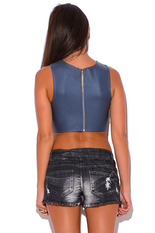 Cute cheap charcoal gray zip up back cut away v neck fitted party crop top