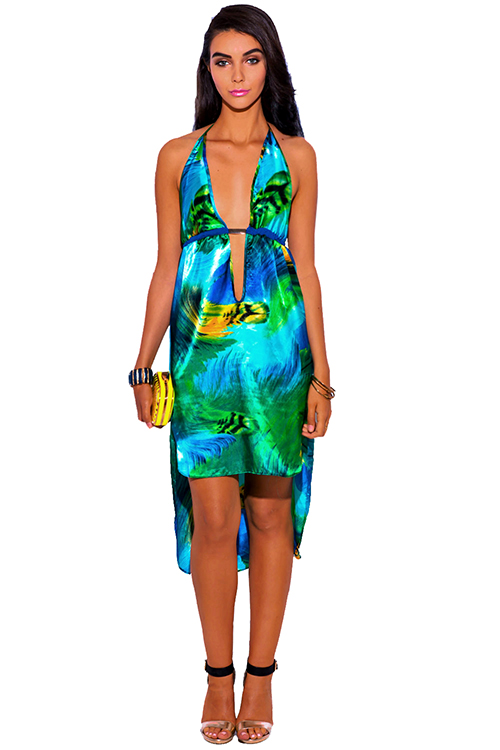 Cute cheap green feather print satin bejeweled deep v neck high low babydoll midi cocktail party sun dress