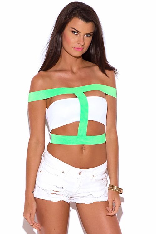 Cute cheap neon green white caged cut out off shoulder bandage crop clubbing top
