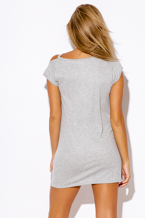 Cute cheap heather gray ripped cut out neckline boyfriend tee shirt tunic mini dress
