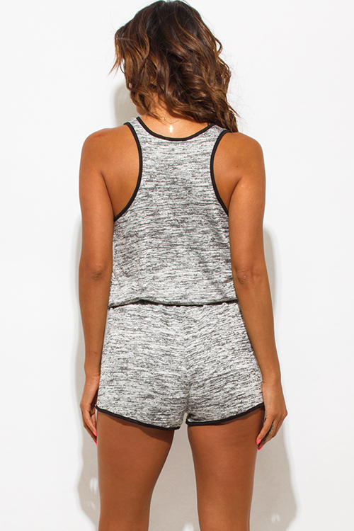 Cute cheap heather gray sleeveless drawstring lounge sporty romper jumpsuit