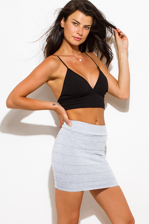 Cute cheap heather gray stretch ribbed knit bandage bodycon fitted club mini skirt