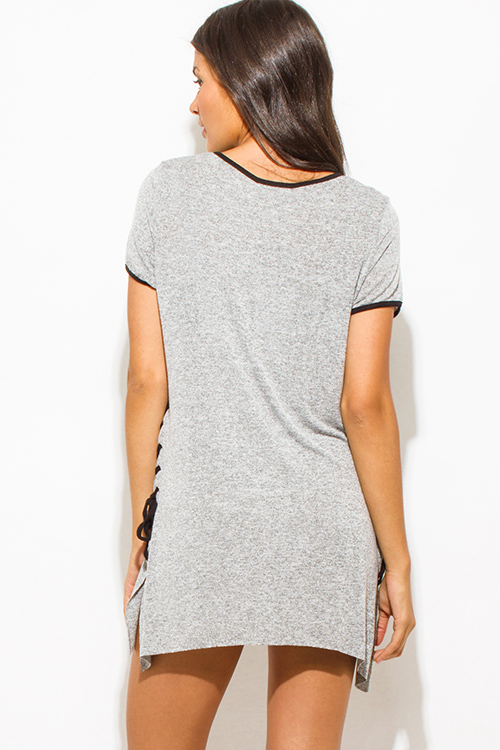 Cute cheap heather gray two toned cotton blend short sleeve laceup side tunic top mini shirt dress