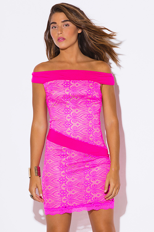 Cute cheap hot pink baroque lace off shoulder fitted cocktail party club mini dress