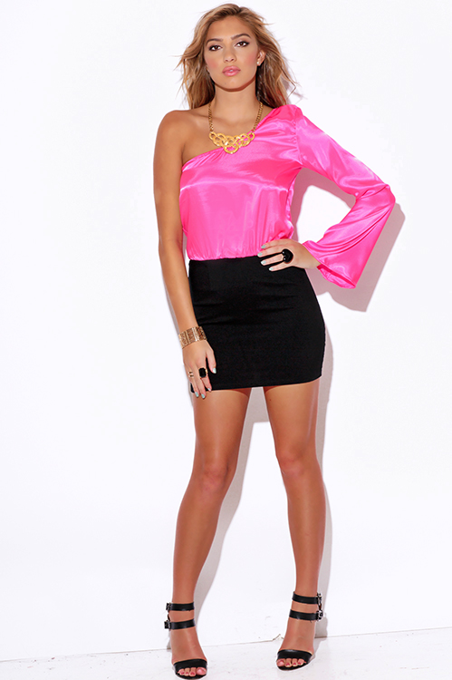 Shop pink satin one shoulder bell sleeve pencil cocktail party ...