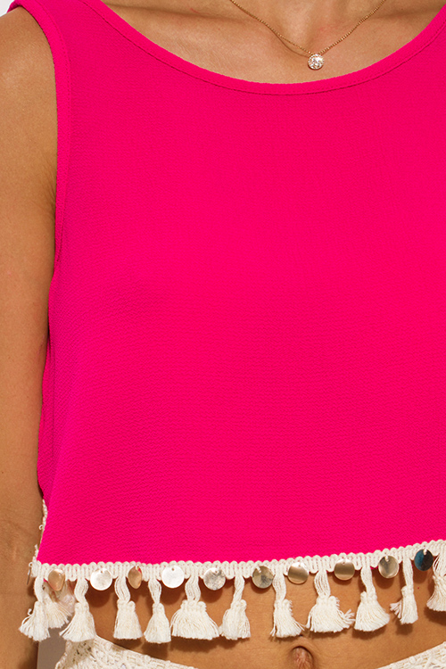 Cute cheap hot pink sequin tassel embellished sleeveless backless tie boho crop top