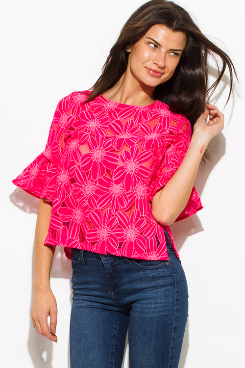 Cute cheap hot pink sheer rayon gauze floral print quarter bell sleeve boho blouse top