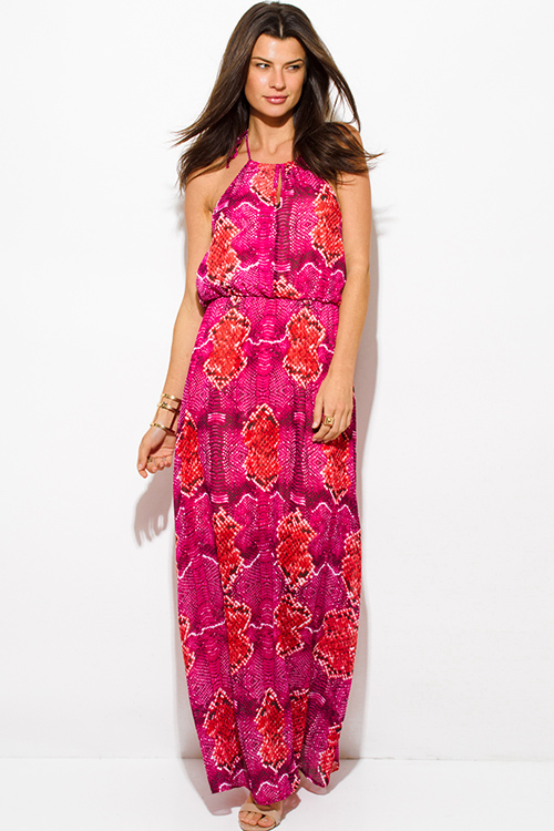 Cute cheap hot pink snake animal print chiffon keyhole halter neck backless evening maxi sun dress