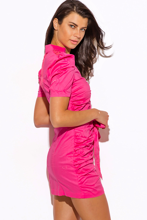 Cute cheap hot pink zip up bubble sleeve ruched fitted shirt dress