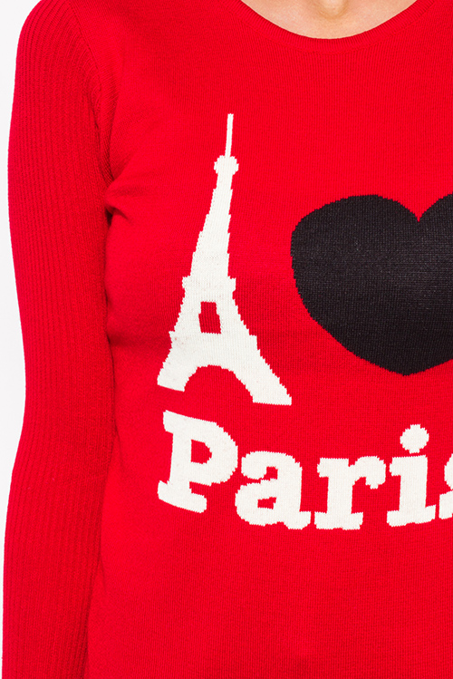 Cute cheap i love paris red cotton blend graphic contrast long sleeve ribbed sweater knit top