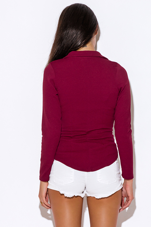 Cute cheap textured deep burgundy wine red single button fitted blazer jacket top