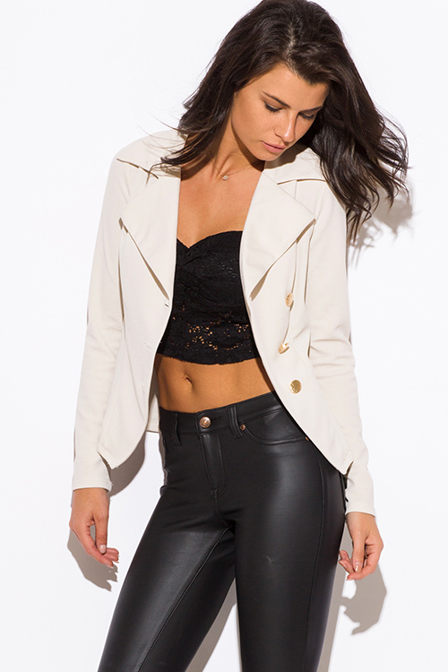 Cute cheap ivory beige asymmetrical golden button fitted blazer jacket