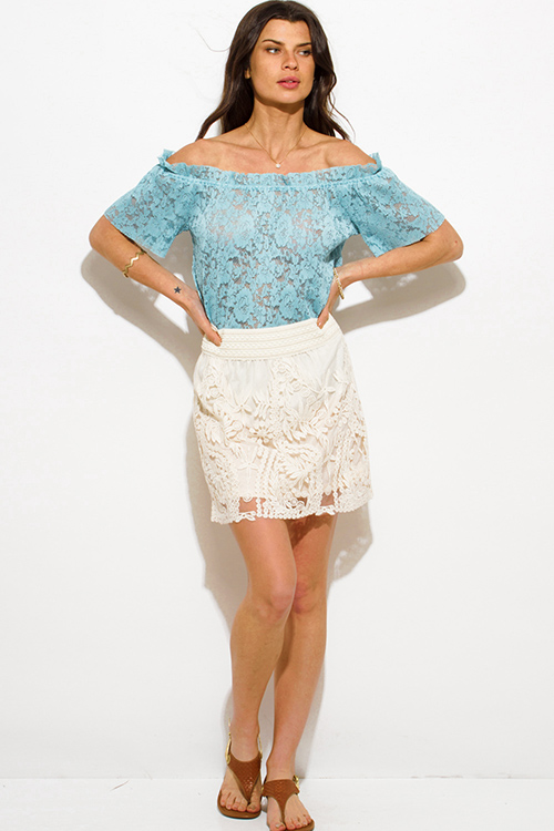 Cute cheap ivory beige crochet lace overlay high waisted fitted boho mini skirt