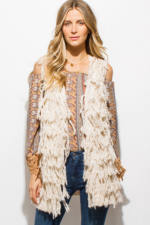 Shop ivory beige fringe sleeveless sweater knit boho vest cardigan