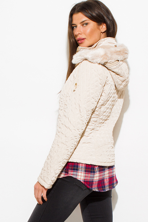 Cute cheap ivory beige quilted faux fur lined zip up hooded pocketed puffer jacket
