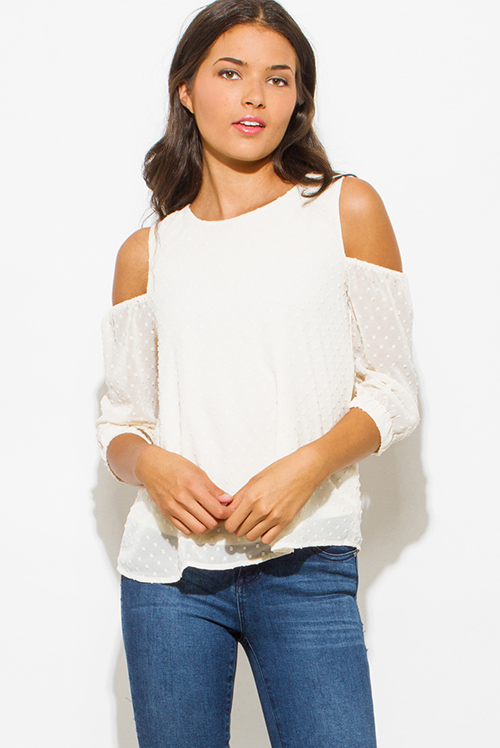 Cute cheap ivory cream textured chiffon cold shoulder quarter sleeve keyhole back boho blouse top