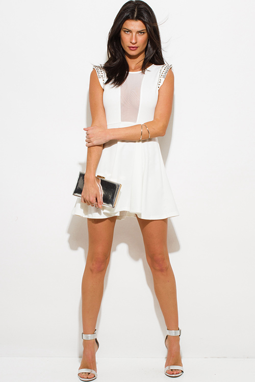 Cute cheap ivory white bejeweled cap sleeve sheer mesh panel a line skater cocktail party mini dress