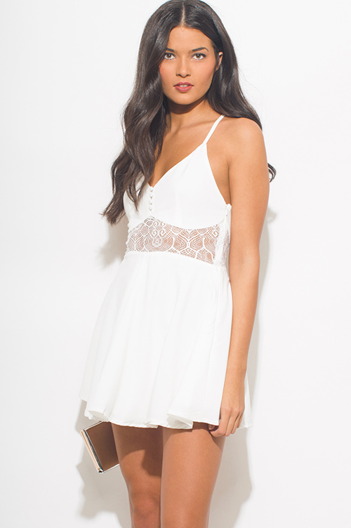 Cute cheap ivory white bustier cut out racer back a line skater boho mini sun dress