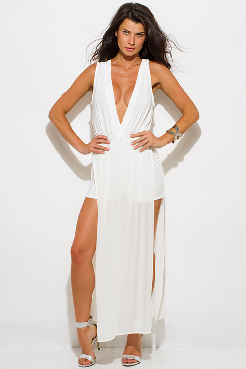 Cute cheap ivory white chiffon deep v neck double high slit sleeveless evening party maxi dress
