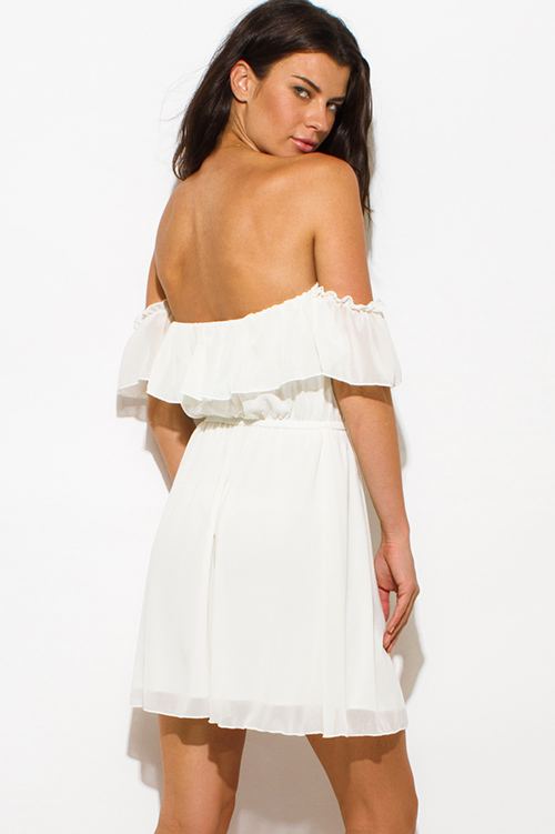 Cute cheap ivory white chiffon off shoulder ruffle tiered boho mini sun dress