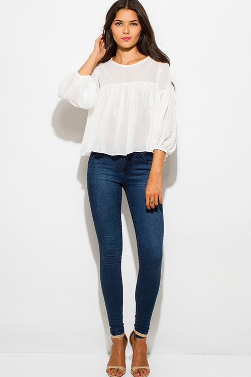 Cute cheap ivory white chiffon shirred quarter length blouson sleeve boho blouse top