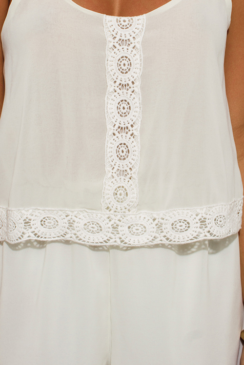 Cute cheap ivory white chiffon tiered crochet trim spaghetti strap open back boho romper jumpsuit