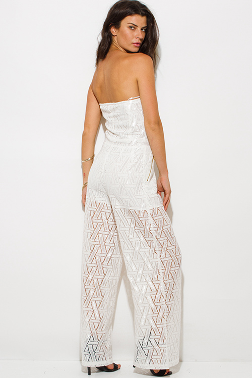 Cute cheap ivory white cotton crochet lace strapless pocketed wide leg evening party jumpsuit