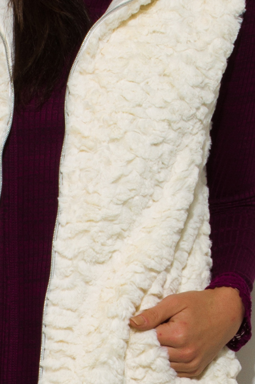 Cute cheap ivory white cream faux fur textured hooded pocketed zip up vest