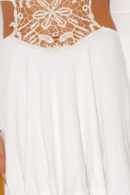 Cute cheap ivory white crochet cut out backless bell sleeve beach cover up boho mini sun dress