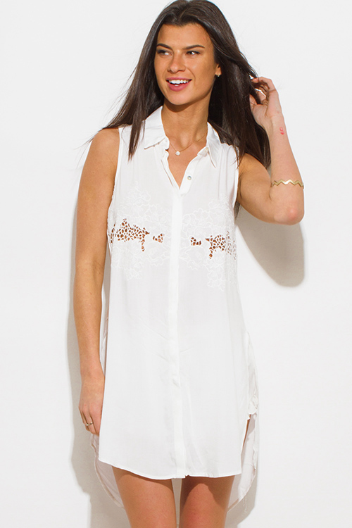 Cute cheap ivory white crochet embroidered sleeveless side slit boho tunic blouse top