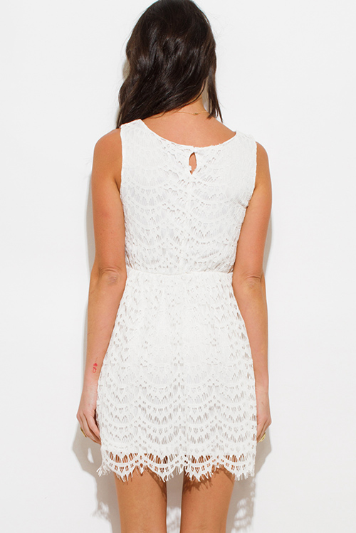 Cute cheap ivory white crochet lace overlay a line sleeveless boho mini sun dress