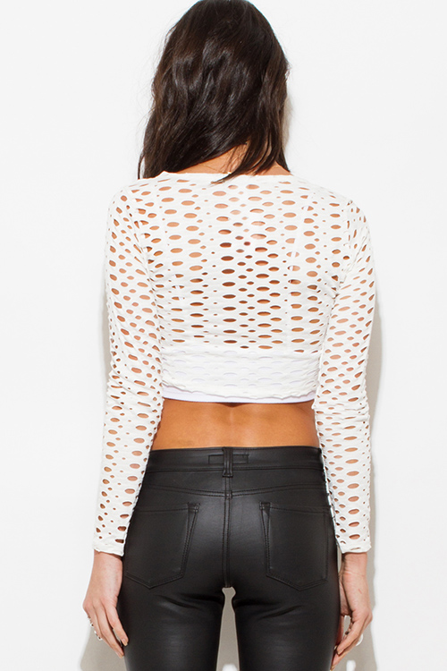Cute cheap ivory white cut out long sleeve clubbing crop top