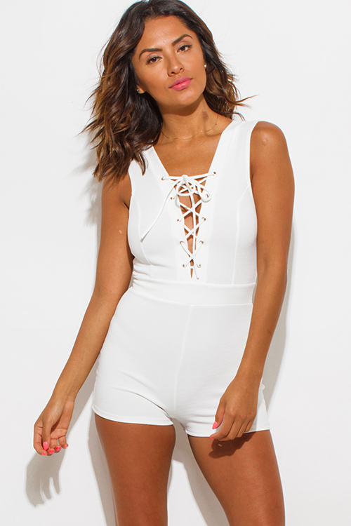 Cute cheap ivory white deep v neck laceup sleeveless fitted bodycon clubbing romper jumpsuit