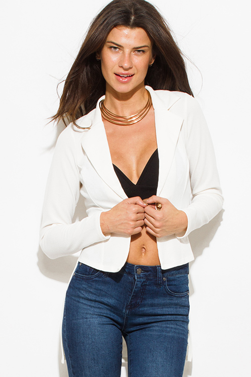Cute cheap ivory white golden button fitted long sleeve high low hem tuxedo blazer jacket