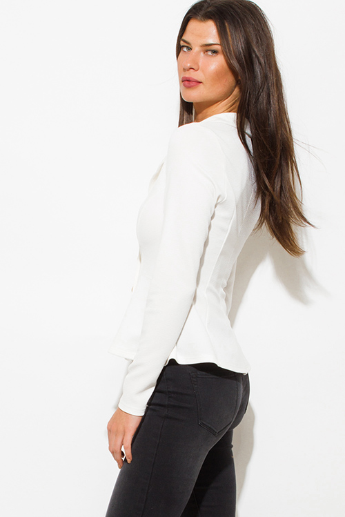 Cute cheap ivory white golden button long sleeve fitted peplum blazer jacket top