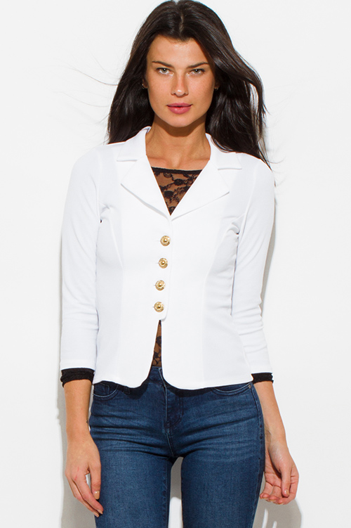 Cute cheap ivory white golden button quarter sleeve fitted blazer jacket top