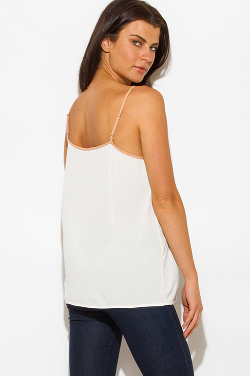 Cute cheap ivory white khaki beige cut out caged tank top