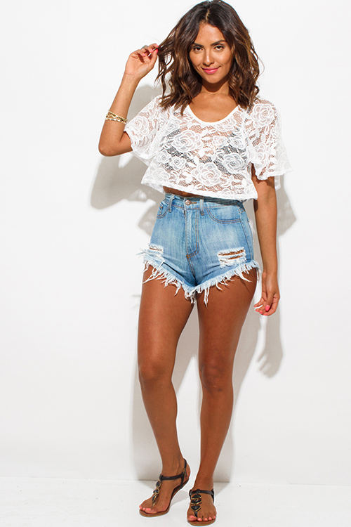 Cute cheap ivory white lace flutter sleeve boho crop top