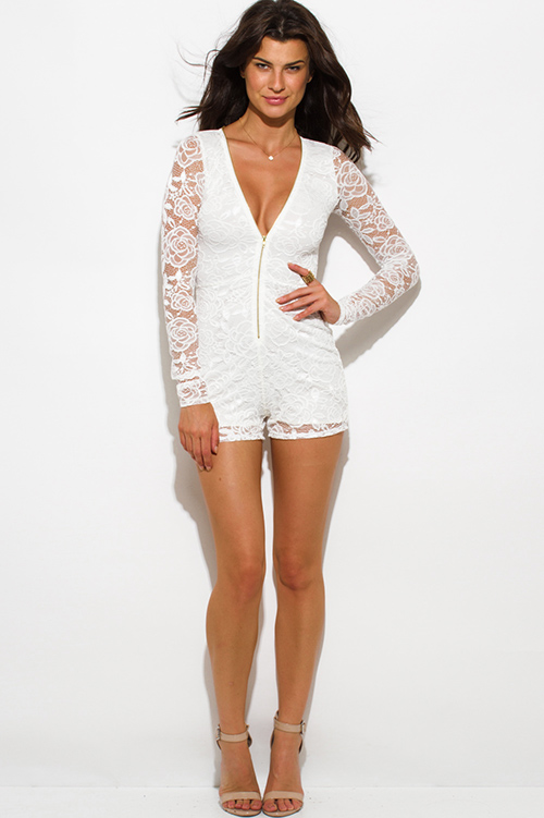Cute cheap ivory white lace long sleeve zip up deep v neck bodycon club romper jumpsuit