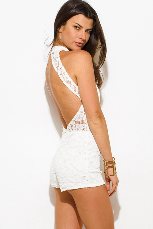 Cute cheap ivory white lace overlay high neck bodycon fitted cut out backless romper playsuit jumpsuit