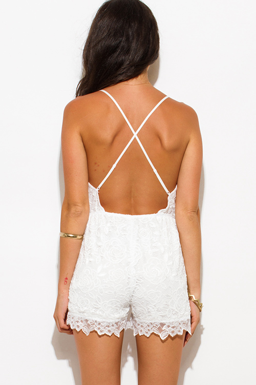 Cute cheap ivory white lace overlay v neck criss cross backless clubbing romper jumpsuit
