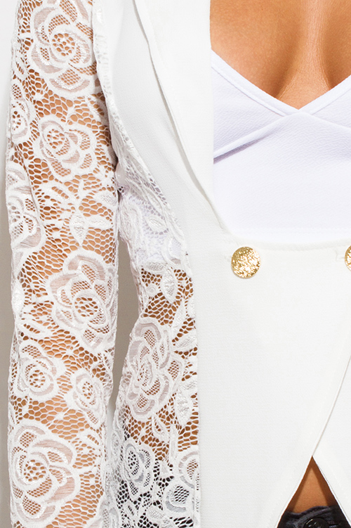 Cute cheap ivory white lace sleeve double breasted golden button blazer top