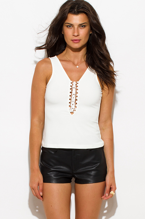 Cute cheap ivory white laceup sleeveless bodycon party tank top