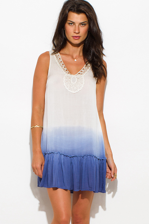 Cute cheap ivory white navy blue chiffon ombre print crochet trim ruffle hem sleeveless boho mini sun dress