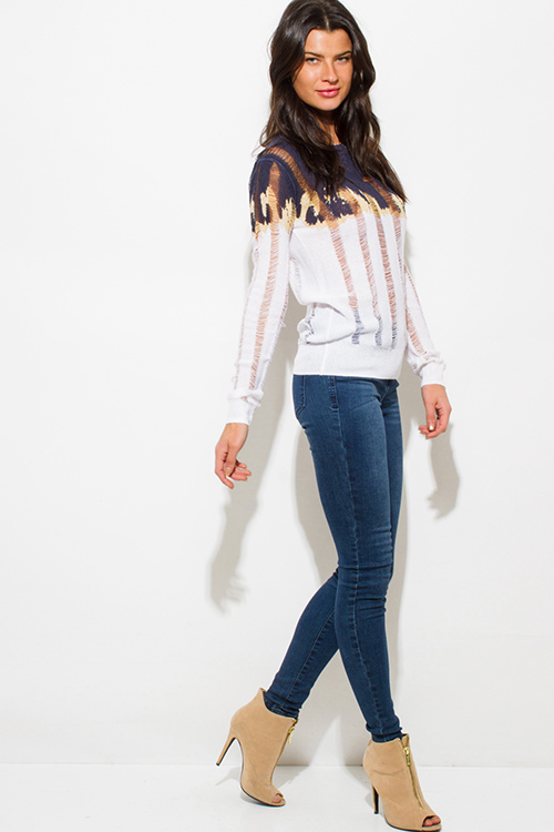 Cute cheap ivory white navy blue long sleeve ombre print destroyed knit top