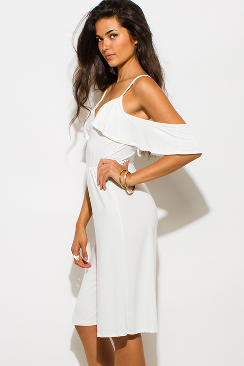 Cute cheap ivory white off shoulder bustier v neck flutter sleeve wide leg evening party playsuit jumpsuit