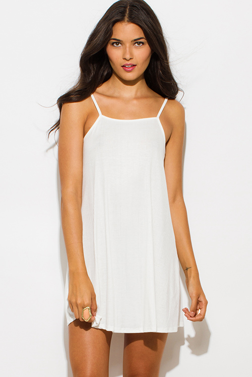 Cute cheap ivory white ribbed knit spaghetti strap open back party mini dress