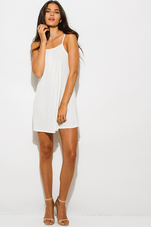 Cute cheap ivory white ribbed spaghetti strap backless party mini sun dress